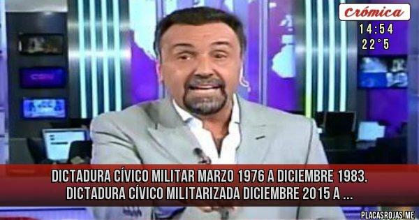 Placas Rojas - Dictadura cívico militar marzo 1976 a diciembre 1983. Dictadura cívico militarizada diciembre 2015 a ...