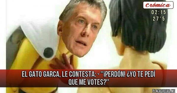 Placas Rojas - EL GATO GARCA, LE CONTESTA: - ''¡PERDÓN! ¿YO TE PEDÍ QUE ME VOTES?''