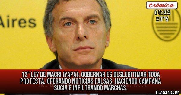 Placas Rojas - 12° Ley de Macri (YAPA): Gobernar es DESLEGITIMAR TODA PROTESTA, OPERANDO NOTICIAS FALSAS, HACIENDO CAMPAÑA SUCIA E INFILTRANDO MARCHAS.