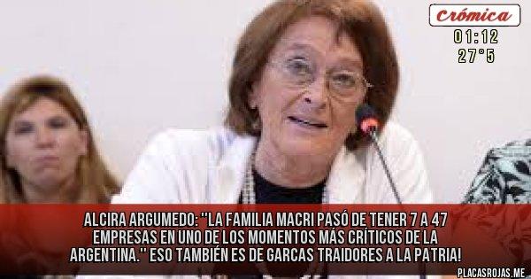 Placas Rojas - Alcira Argumedo: ''La familia Macri pasó de tener 7 a 47 empresas en uno de los momentos más críticos de la Argentina.''  ESO TAMBIÉN ES DE GARCAS TRAIDORES A LA PATRIA!