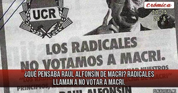 Placas Rojas - ¿QUÉ PENSABA RAÚL ALFONSÍN DE MACRI? RADICALES LLAMAN A NO VOTAR A MACRI.