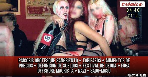 Placas Rojas - Psicosis Grotesque Sangriento + tarifazos + aumentos de precios + defunción de sueldos + festival de deuda + fuga offshore macrista  + nazi + sado-maso