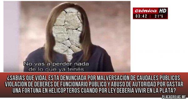 Placas Rojas - ¿Sabías que Vidal está denunciada por malversación de caudales públicos, violación de deberes de funcionario público y abuso de autoridad por gastar una fortuna en helicópteros cuando por ley debería vivir en La Plata?