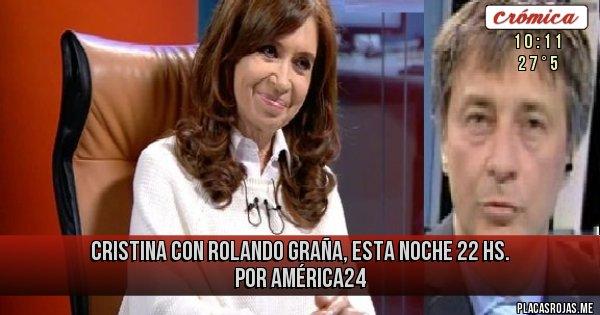 Placas Rojas - CRISTINA CON ROLANDO GRAÑA, ESTA NOCHE 22 HS. POR AMÉRICA24