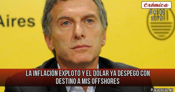 Placas Rojas - La inflación explotó  y el dólar ya despegó con destino a mis offshores