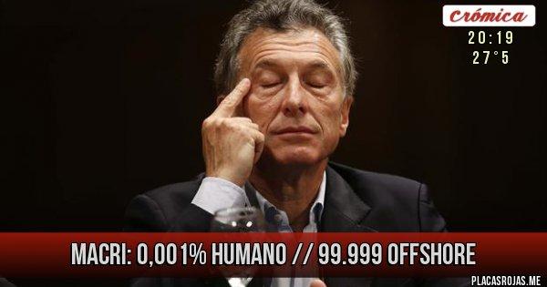 Placas Rojas - Macri:  0,001% Humano // 99.999 Offshore