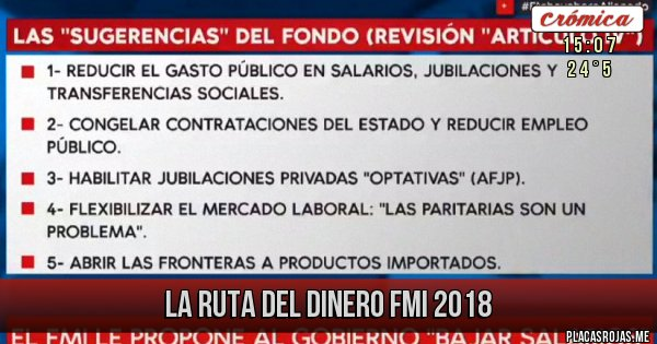 Placas Rojas - La ruta del dinero FMI 2018