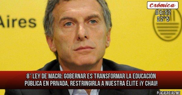 Placas Rojas - 8° Ley de Macri:  Gobernar es transformar la Educación Pública en privada, restringirla a nuestra élite ¡y Chau!