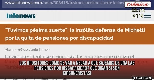 Placas Rojas - Los opositores cómo se van a negar a que bajemos de una las pensiones por discapacidad? Que digan si son kirchneristas!