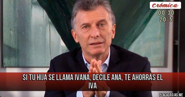 Placas Rojas - si tu hija se llama ivana, decile ana, te ahorrás el iva