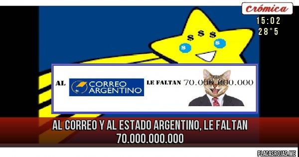 Placas Rojas - al correo y al estado argentino, le faltan 70.000.000.000