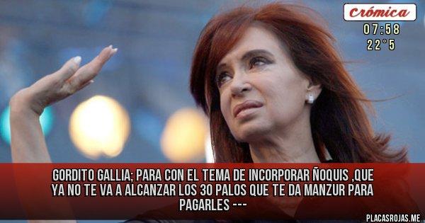 Placas Rojas - GORDITO GALLIA; PARA CON EL TEMA DE INCORPORAR ÑOQUIS ,QUE YA NO TE VA A ALCANZAR LOS 30 PALOS QUE TE DA MANZUR PARA PAGARLES ---