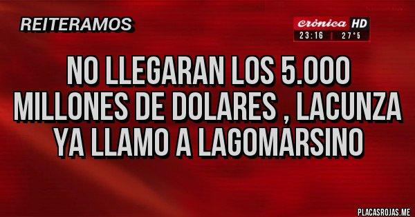Placas Rojas - NO LLEGARAN LOS 5.000  MILLONES DE DOLARES , LACUNZA YA LLAMO A LAGOMARSINO