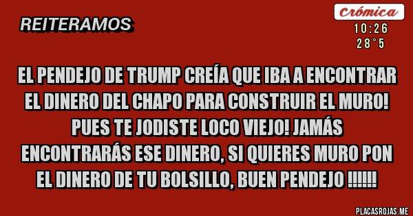 Placas Rojas - EL PENDEJO DE TRUMP CREÍA QUE IBA A ENCONTRAR EL DINERO DEL CHAPO PARA CONSTRUIR EL MURO! PUES TE JODISTE LOCO VIEJO! JAMÁS ENCONTRARÁS ESE DINERO, SI QUIERES MURO PON EL DINERO DE TU BOLSILLO, BUEN PENDEJO !!!!!!