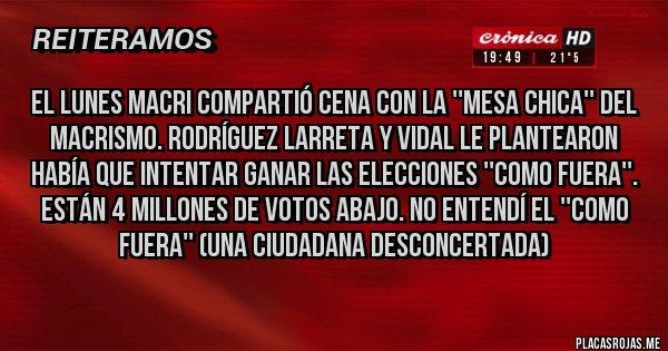 Placas Rojas - El Lunes Macri compartió cena con la ''mesa chica'' del Macrismo. Rodríguez Larreta y Vidal le plantearon había que intentar ganar las elecciones ''como fuera''. Están 4 millones de votos abajo. No entendí el ''como fuera'' (una ciudadana desconcertada)