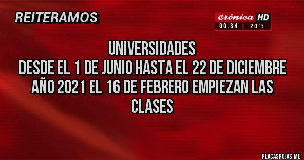 Placas Rojas - UNIVERSIDADES DESDE EL 1 DE JUNIO HASTA EL 22 DE DICIEMBRE AÑO 2021 EL 16 DE FEBRERO EMPIEZAN LAS CLASES