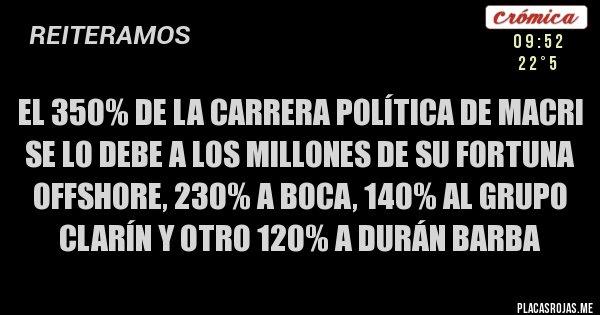 Placas Rojas - EL 350% DE LA CARRERA POLÍTICA DE MACRI SE LO DEBE A LOS MILLONES DE SU FORTUNA OFFSHORE, 230% A BOCA, 140% AL GRUPO CLARÍN Y OTRO 120% A DURÁN BARBA