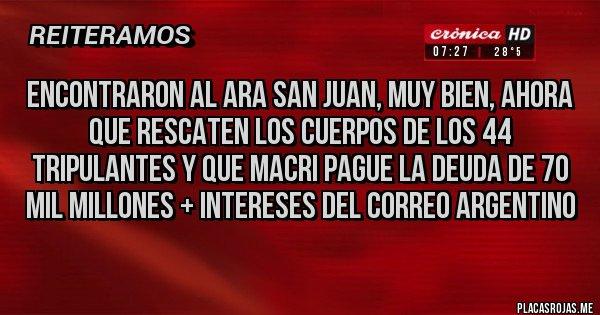 Placas Rojas - encontraron al ara san juan, muy bien, ahora que rescaten los cuerpos de los 44 tripulantes y que macri pague la deuda de 70 mil millones + intereses del correo argentino