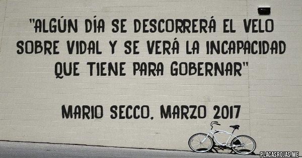 Placas Rojas - ''Algún día se descorrerá el velo sobre Vidal y se verá la incapacidad que tiene para gobernar''  Mario Secco, marzo 2017