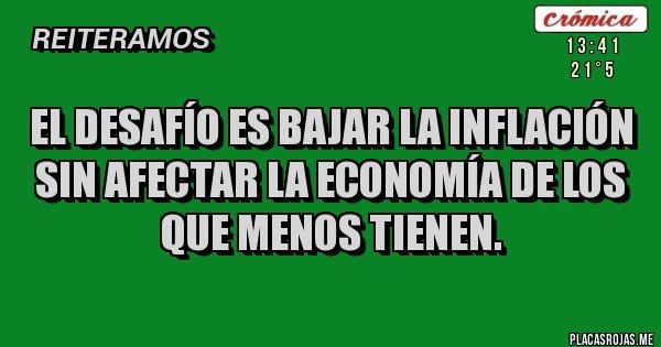 Placas Rojas - EL DESAFÍO ES BAJAR LA INFLACIÓN SIN AFECTAR LA ECONOMÍA DE LOS QUE MENOS TIENEN.