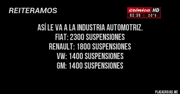 Placas Rojas - Así le va a la industria automotriz. 