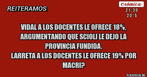 Placas Rojas - Vidal a los docentes le ofrece 18%, argumentando que Scioli le dejo la provincia fundida.  Larreta a los docentes le ofrece 19% por Macri?