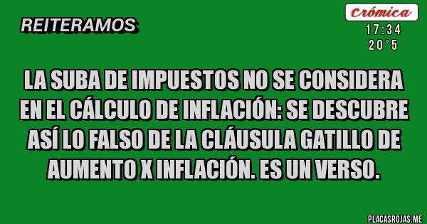 Placas Rojas - LA SUBA DE IMPUESTOS NO SE CONSIDERA EN EL CÁLCULO DE INFLACIÓN: se descubre así lo falso de la cláusula gatillo de aumento X inflación. Es un verso.