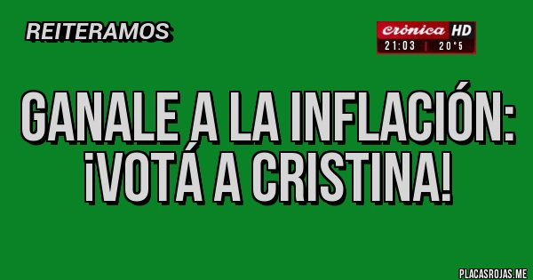 Placas Rojas - GANALE a la inflación: ¡Votá a Cristina!