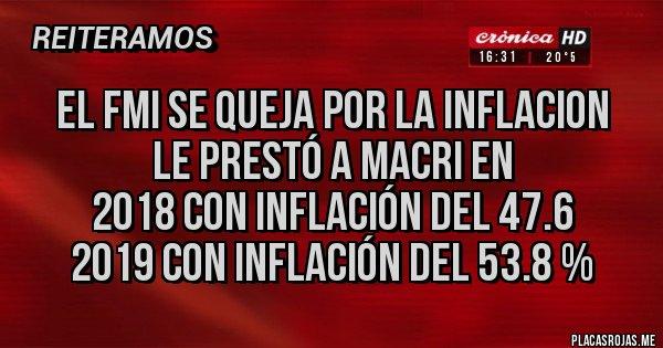 Placas Rojas - El FMI se queja por LA INFLACION  Le prestó a MACRI en 2018 con inflación del 47.6 2019 con Inflación del 53.8 %