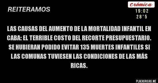 Placas Rojas - Las causas del aumento de la mortalidad infantil en CABA: El terrible costo del recorte presupuestario. Se hubieran podido evitar 135 muertes infantiles si las comunas tuviesen las condiciones de las más ricas.