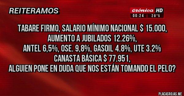 Placas Rojas - tabare firmo, salario mínimo nacional $ 15.000, Aumento a jubilados 12.26%, Antel 6,5%, OSE. 9,8%, gasoil 4.8%, UTE 3.2% Canasta básica $ 77.951, Alguien pone en duda que nos están tomando el pelo?