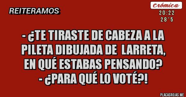 Placas Rojas - - ¿TE TIRASTE DE CABEZA A LA PILETA DIBUJADA DE  LARRETA,   EN QUÉ ESTABAS PENSANDO?  - ¿Para qué lo voté?!