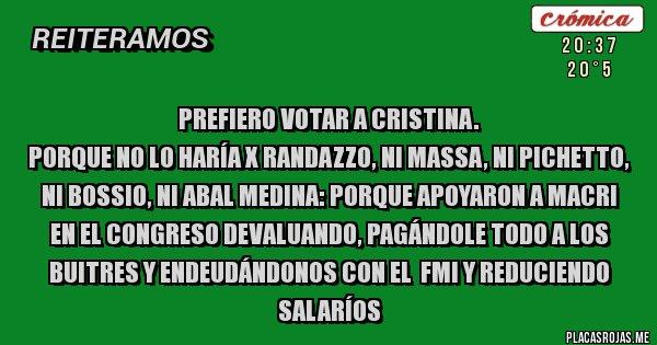 Placas Rojas - Prefiero votar a Cristina. Porque no lo haría x Randazzo, ni Massa, ni Pichetto,  ni Bossio, ni Abal Medina: porque apoyaron a Macri en el Congreso devaluando, pagándole todo a los BUITRES y endeudándonos con el  FMI y reduciendo salaríos