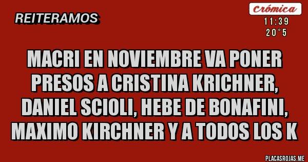 Placas Rojas - macri en noviembre va poner presos a cristina krichner, daniel scioli, hebe de bonafini, maximo kirchner y a todos los K