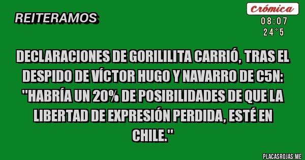 Placas Rojas - DECLARACIONES DE GORILILITA CARRIÓ, TRAS EL DESPIDO DE VÍCTOR HUGO Y NAVARRO DE C5N: ''HABRÍA UN 20% DE POSIBILIDADES DE QUE LA LIBERTAD DE EXPRESIÓN PERDIDA, ESTÉ EN CHILE.''
