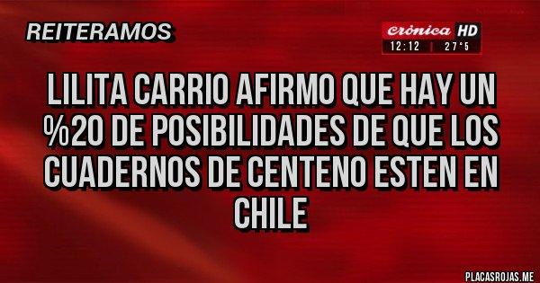 Placas Rojas - Lilita Carrio afirmo que hay un %20 de posibilidades de que los cuadernos de centeno esten en Chile