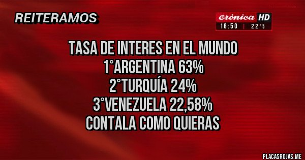 Placas Rojas - TASA DE INTERES EN EL MUNDO  1°ARGENTINA 63% 2°TURQUÍA 24% 3°VENEZUELA 22,58% CONTALA COMO QUIERAS