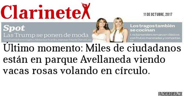 Placas Rojas - Último momento: Miles de ciudadanos están en parque Avellaneda viendo vacas rosas volando en círculo.