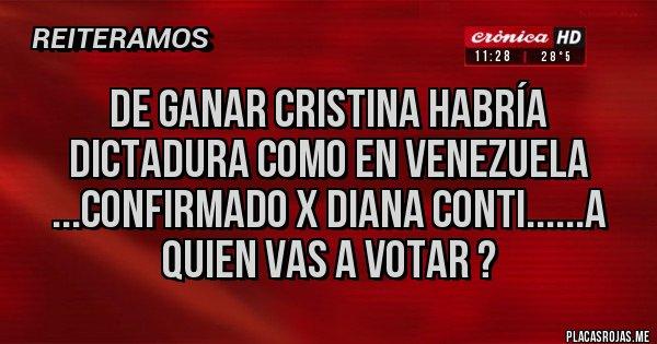 Placas Rojas - DE GANAR CRISTINA HABRÍA DICTADURA COMO EN VENEZUELA ...CONFIRMADO X DIANA CONTI......A QUIEN VAS A VOTAR ?