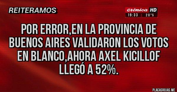 Placas Rojas - Por error,en la Provincia de Buenos Aires validaron los votos en blanco,ahora Axel Kicillof llegó a 52%.
