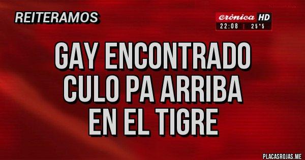 Placas Rojas - Gay encontrado Culo pa arriba  En el tigre