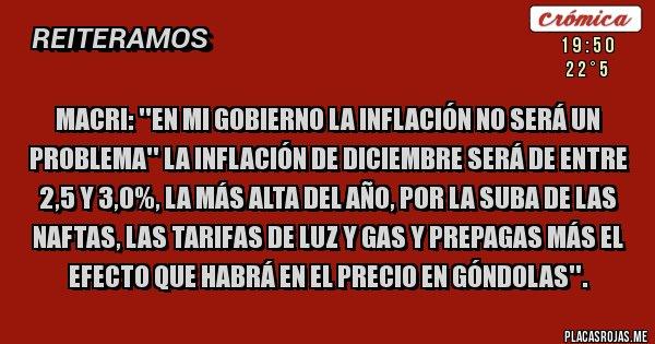 Placas Rojas - Macri: ''En mi Gobierno la inflación no será un problema'' La inflación de Diciembre será de entre 2,5 y 3,0%, la más alta del año, por la suba de las naftas, las tarifas de luz y gas y prepagas más el efecto que habrá en el precio en góndolas''.