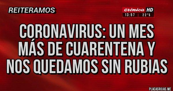 Placas Rojas - Coronavirus: un mes más de cuarentena y nos quedamos sin rubias