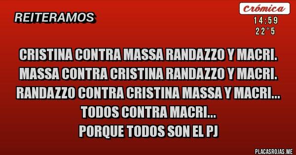 Placas Rojas - Cristina contra Massa Randazzo y Macri. Massa contra Cristina Randazzo y Macri. Randazzo contra Cristina Massa y Macri... Todos contra Macri... Porque Todos son el PJ