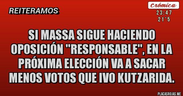 Placas Rojas - Si Massa sigue haciendo oposición ''responsable'', en la próxima elección va a sacar menos votos que ivo kutzarida.