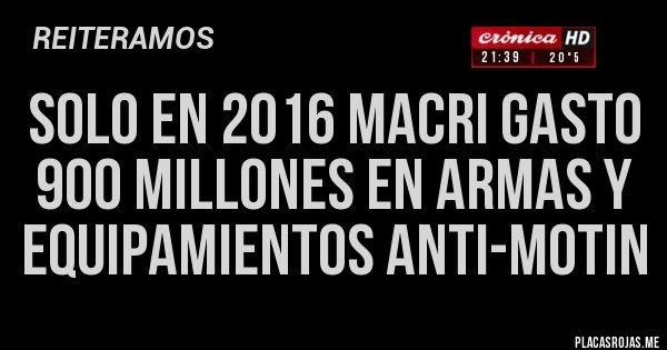 Placas Rojas - SOLO EN 2016 MACRI GASTO 900 MILLONES EN ARMAS Y EQUIPAMIENTOS ANTI-MOTIN