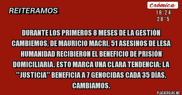Placas Rojas - Durante los primeros 8 meses de la gestión Cambiemos, de Mauricio Macri, 51 asesinos de Lesa Humanidad recibieron el beneficio de prisión domiciliaria. Esto marca una clara tendencia: La ''Justicia'' beneficia a 7 genocidas cada 35 días.  Cambiamos.