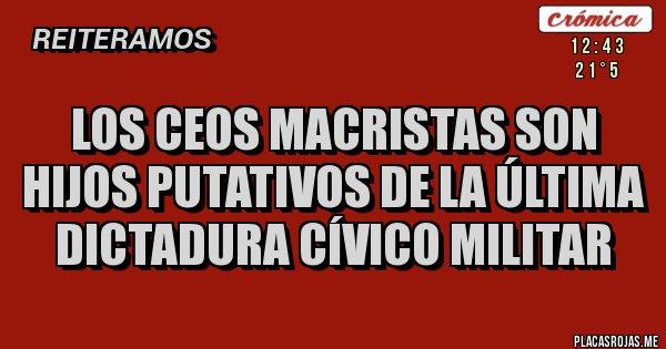 Placas Rojas - Los CEOS MACRISTAS son hijos putativos de la última dictadura cívico militar