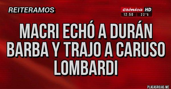Placas Rojas - Macri echó a Durán Barba y trajo a Caruso Lombardi