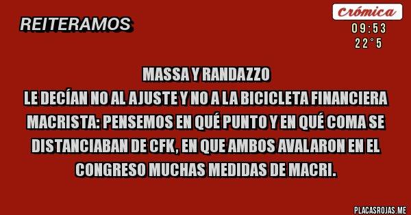 Placas Rojas - Massa y Randazzo  le decían no al ajuste y no a la bicicleta financiera macrista: pensemos en qué punto y en qué coma se distanciaban de CFK, en que ambos avalaron en el Congreso muchas medidas de Macri.